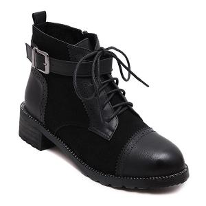 Vintage Lace Up Boots - Black - 39