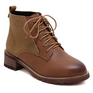 Tie Up Ankle Boots - Brown - 37