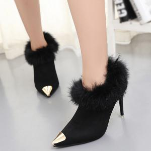 Suede Faux Fur Point Toe Ankle Boots -