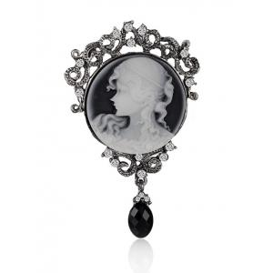Round Beauty Head Drop Antique Cameo Brooch Pin - Frost