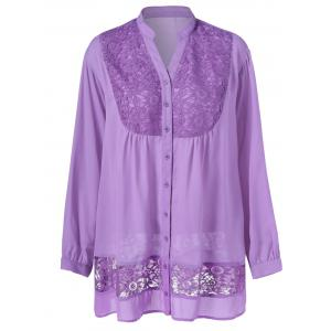 Plus Size Lace Trim Button Down Blouse