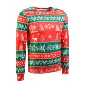 Crew Neck Christmas Tree and Snowflake Print Long Sleeve Flocking Sweatshirt - RED/GREEN 2XL