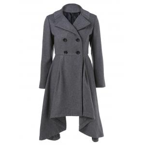 Double-Breasted Asymmetrical Woolen Coat - Gray - L
