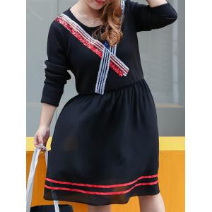 Plus Size Colored Sequined Fleece Dress