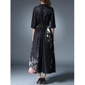 Vintage Floral Jacquard Midi Dress - BLACK 2XL