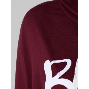 Letter Print Snow Pattern Plus Size Hoodie - DEEP RED L