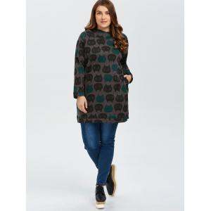 Pullover Printed Plus Size Long Hoodie - COFFEE 3XL