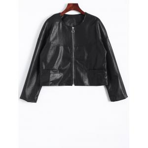 Zip Up Faux Leather Plus Size Jacket