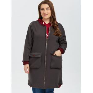 Printed Zip Up Color Block Plus Size Coat - GRAY 3XL