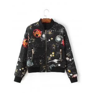 Slim Starry Sky Print Down Jacket