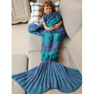 Warmth Knitted Fish Scales Mermaid Blanket For Kids - Blue - M