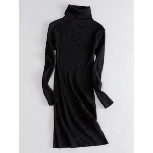 Turtleneck Ribbed Long Sleeve Knit Dress - Black - One Size