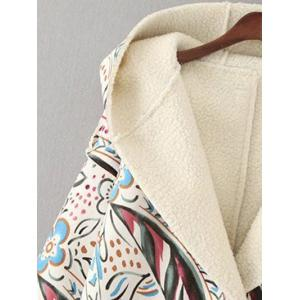 Hooded Tribal Print Long Suede Coat - OFF WHITE L