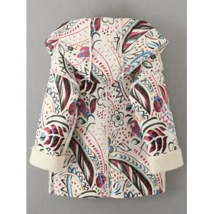 Hooded Wrap Tribal Print Long Suede Coat - OFF WHITE L