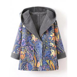 Hooded Wrap Tribal Print Long Suede Coat - Blue - L