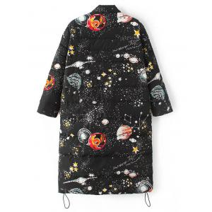 Starry Sky Print Long Puffer Coat - BLACK L