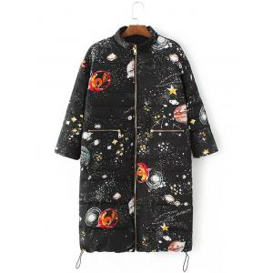 Starry Sky Print Long Puffer Coat