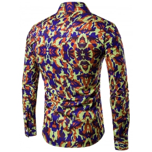 Camouflage Pattern Turndown Collar Long Sleeve Shirt - BLUISH YELLOW 2XL