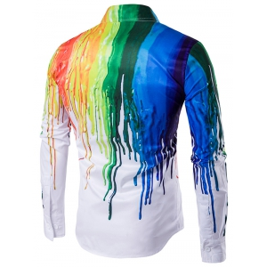 Colorful Splatter Paint Print Turndown Collar Long Sleeve Shirt - WHITE XL
