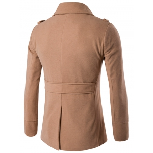 Stand Collar Double Breasted Epaulet Wool Coat - KHAKI 2XL