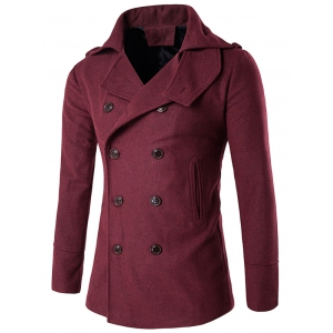 Stand Collar Double Breasted Epaulet Wool Coat - Red - M