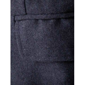 Covered Button Turndown Collar Back Slit Wool Coat - GRAY 2XL