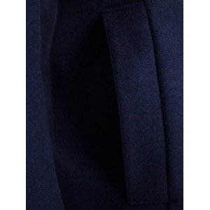 Hooded Double Breasted Back Slit Wool Coat - CADETBLUE 2XL
