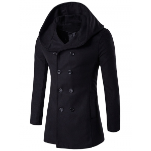 Hooded Double Breasted Back Slit Wool Coat - Black - M