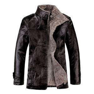 Stand Collar Flocking Single Breasted PU-Leather Jacket - Black - Xl
