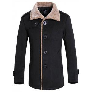 Turndown Collar Flocking Single Breasted Suede Coat - Black - Xl