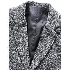 Turndown Collar Lengthen Single Breasted Wool Coat - GRAY 5XL