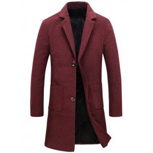Turndown Collar Lengthen Single Breasted Wool Coat - Red - Xl