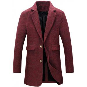 Turndown Collar Cotton Blends Single Breasted Woolen Coat