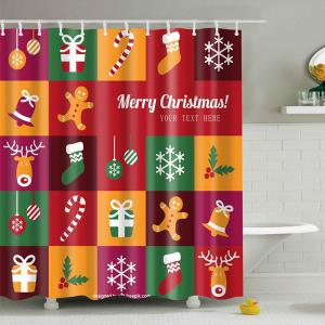 Merry Christmas Plaid Design Waterproof Shower Curtain