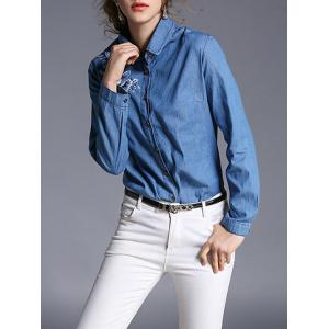 Denim and Flower Embroidery Formal Shirt - DENIM BLUE XL