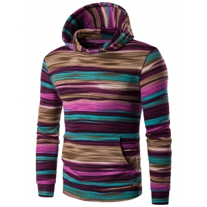Hooded Color Block Stripe Pullover Hoodies