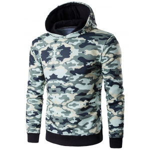Hooded Camouflage Print Long Sleeve Hoodie - Army Green - Xl