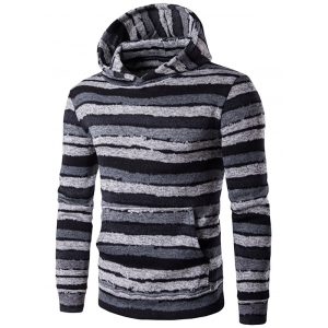 Hooded Stripe Print Long Sleeve Hoodie - Gray - M