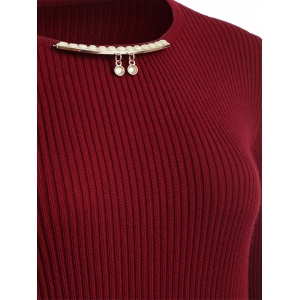 Chain Checked Layered Sweater Skater Dress - WINE RED ONE SIZE