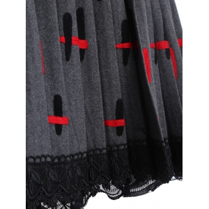 Lace Trim Pleated Knitted Dress -
