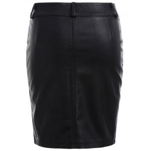 Streetwear Faux Leather Pencil Skirt -