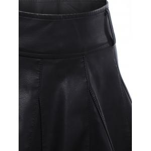High Waisted Faux Leather Skater Skirt -