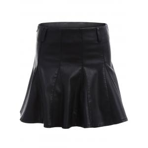 High Waist Faux Leather Skater Skirt