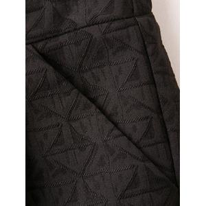 Triangle Jacquard Button Plus Size Shorts - BLACK 5XL