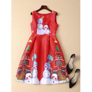 Sleeveless Snowman Christmas Skater Party Dress - RED L