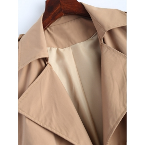 Button Up Drawstring Trench Coat -