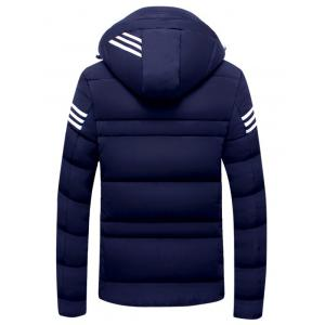 Detachable Hooded Zip Up Stripe Print Down Jacket -