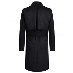 Turndown Collar Lengthen Belt Design Double Breasted Suede Coat -
