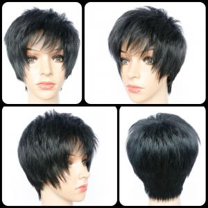 Short Pixie Cut Side Bang Straight Heat Resistant Fiber Wig - Black