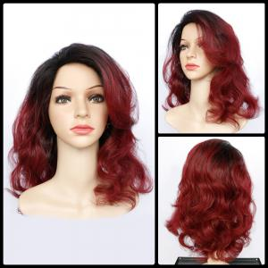 Double Color Long Fluffy Wavy Synthetic Capless Wig
